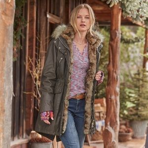 Sundance Catalog brown faux distressed coat small